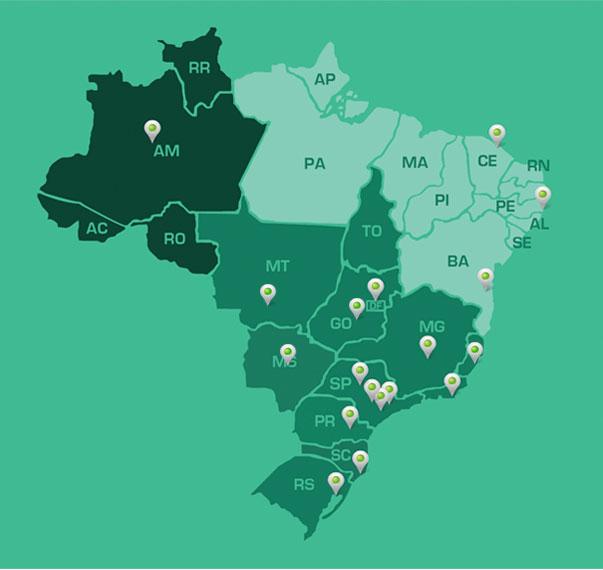 Mapa dos representantes da Powermatic